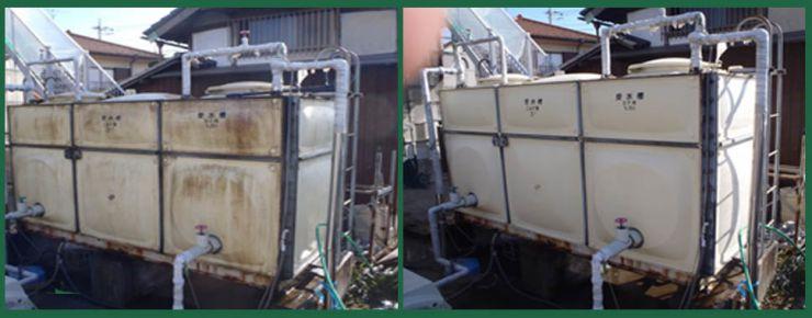 浄化槽の施工事例 除菌洗剤、建物全般のカビ除去、藻類の除去、クロス・塗装面のヤニ汚れの除去 カビ汚れ除去 洗浄マジック 10シリーズ