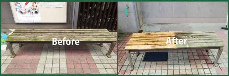 木製ベンチの汚れ・劣化復元 木の洗浄施工事例 木部のカビ取り洗浄・洗剤、漂白洗浄・洗剤、アオ取り洗浄・洗剤 木部洗浄・洗剤 洗浄マジック 50シリーズ