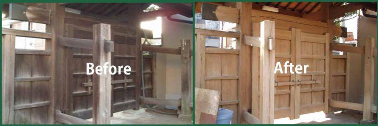 神社の門も甦りました 木の洗浄施工事例 木部のカビ取り洗浄・洗剤、漂白洗浄・洗剤、アオ取り洗浄・洗剤 木部洗浄・洗剤 洗浄マジック 50シリーズ