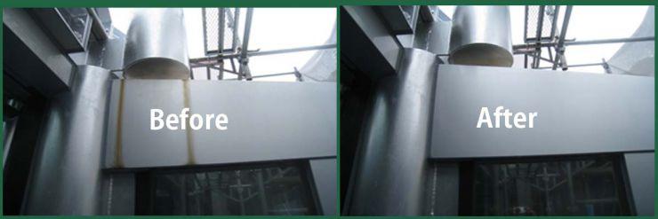 設備からの錆汚れが、建物に付着した場合のサビ汚れの除去