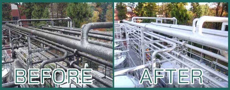 パイプラインの施工事例 除菌洗剤、建物全般のカビ除去、藻類の除去、クロス・塗装面のヤニ汚れの除去 カビ汚れ除去 洗浄マジック 10シリーズ
